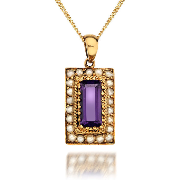 9ct Gold Art Deco Rectangular Pendant Necklace with Amethyst and Pearl