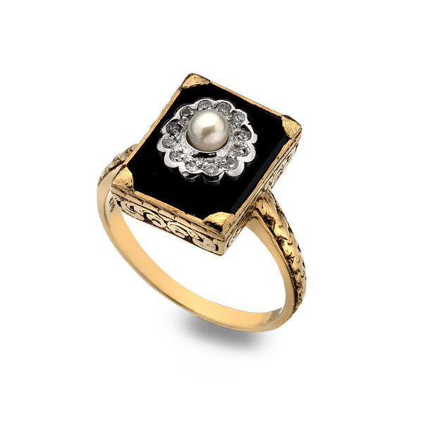 9ct Gold Art Deco Rectangular Ring with Black Onyx, Pearl and Diamond