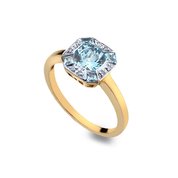 9ct Gold Art Deco Ring with Aquamarine and Diamond