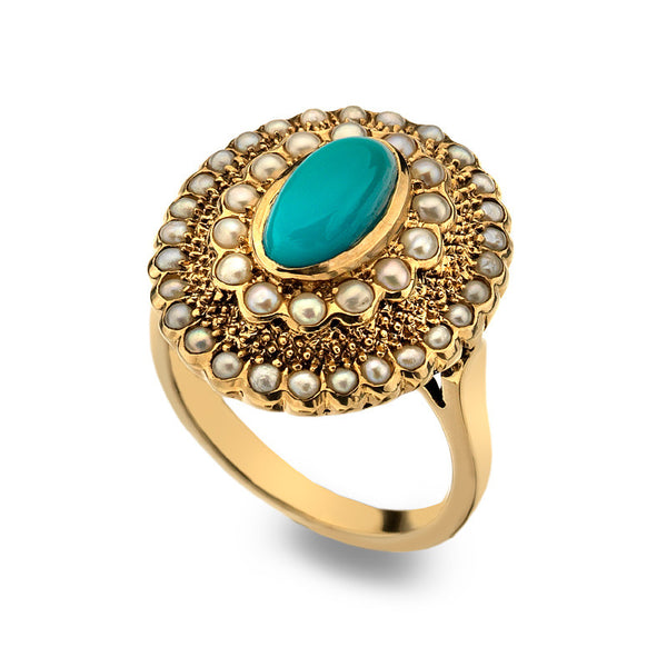 9ct Gold Art Nouveau Oval Ring with Turquoise and Pearl