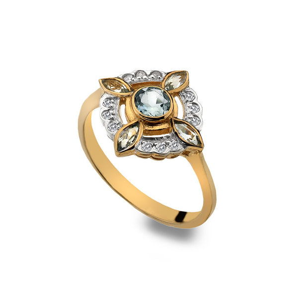 9ct Gold Clover Ring with Aquamarine and Diamond