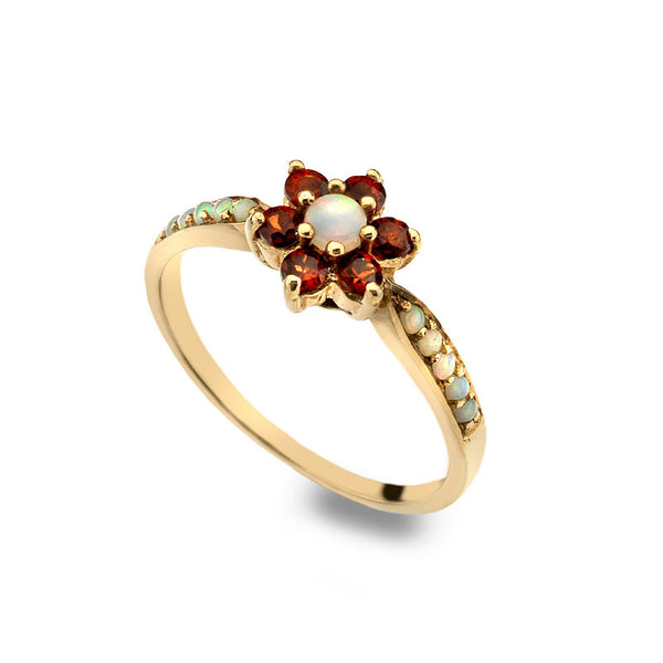 9ct Gold Delicate Daisy Ring with Opal and Garnet