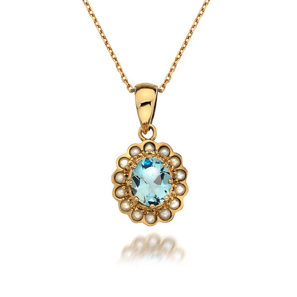 9ct Gold Little Oval Pendant Necklace with Aquamarine and Pearl