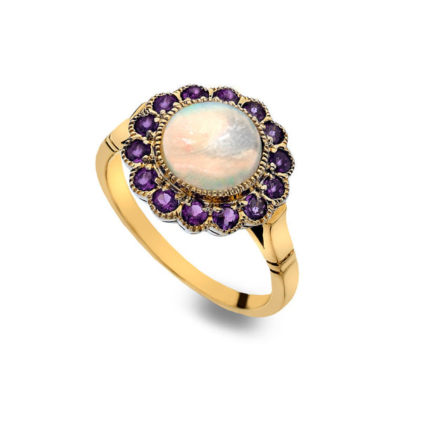 9ct Gold Flower Ring with Opal and Amethyst