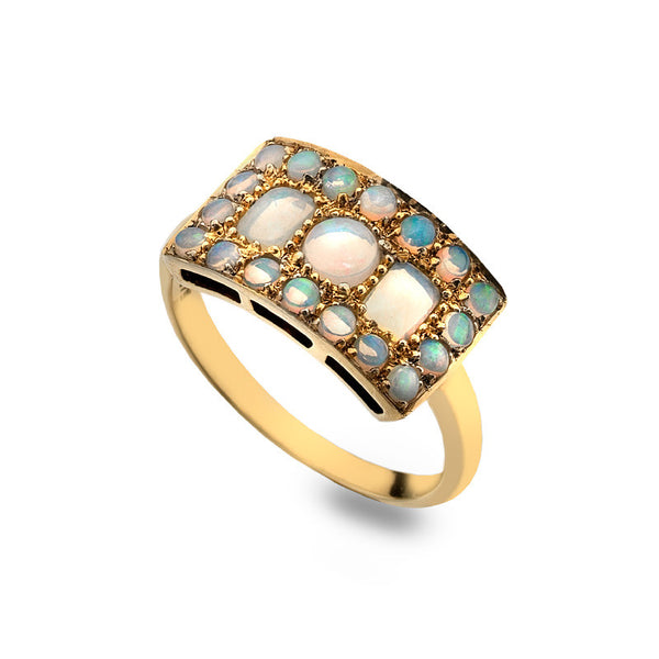 9ct Gold Art Deco Ring with Opal