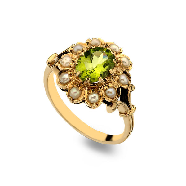 9ct Gold Flower Ring with Oval Peridot and Pearl