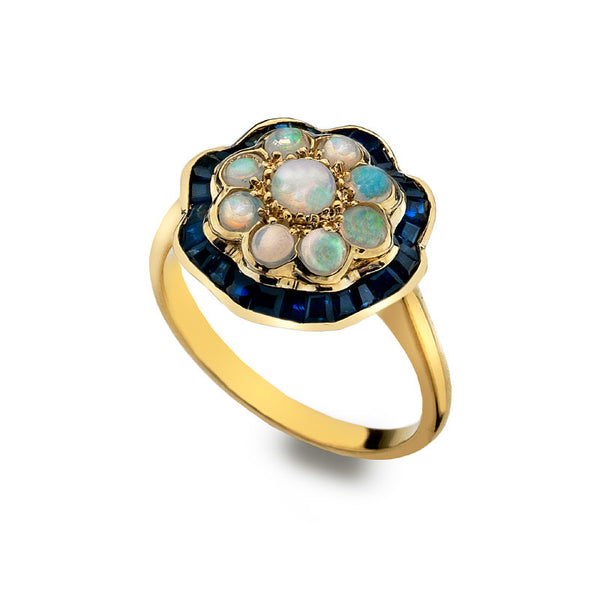 9ct Gold Peony Flower Ring with Opal and Sapphire