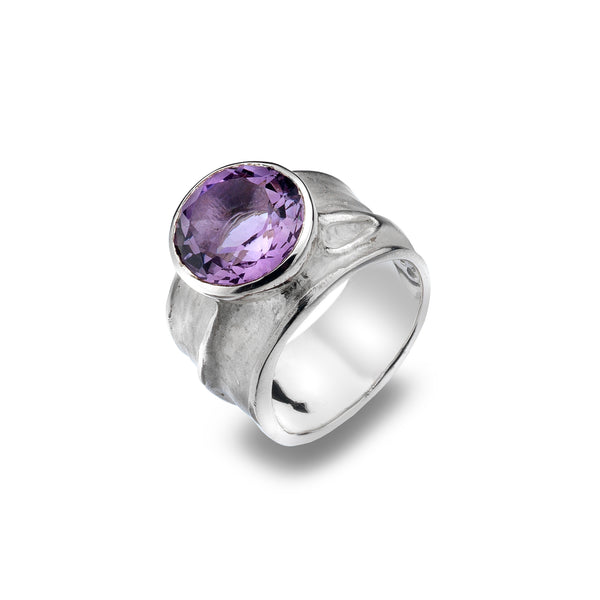 Chunky Candy Amethyst Organic Sterling Silver Ring