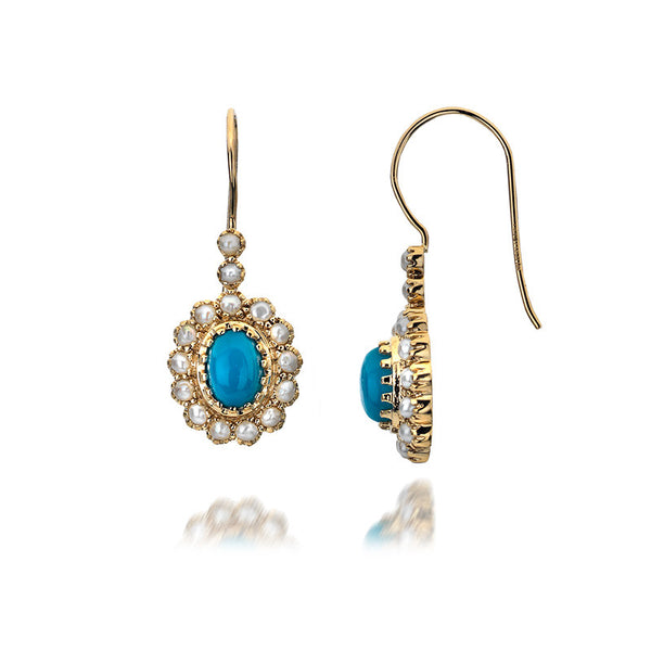 9ct Gold Drop Earrings with Turquoise and Pearl