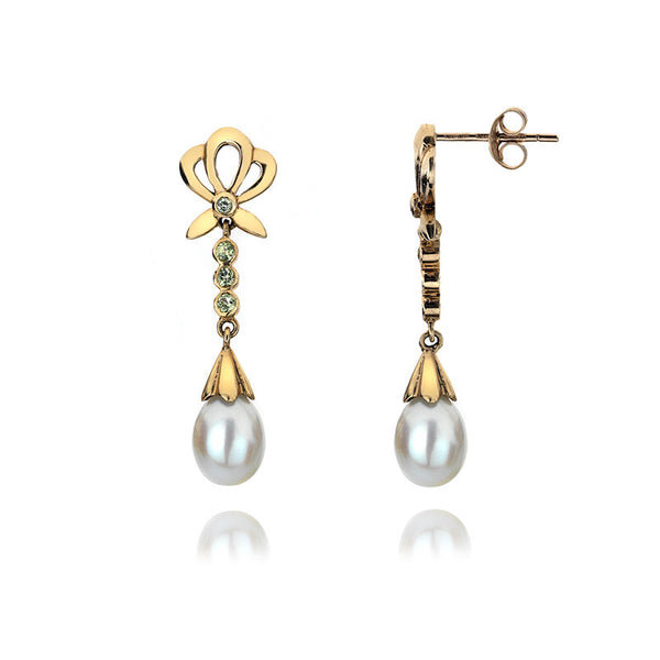 9ct Gold Bow Earrings with Pearl and Peridot