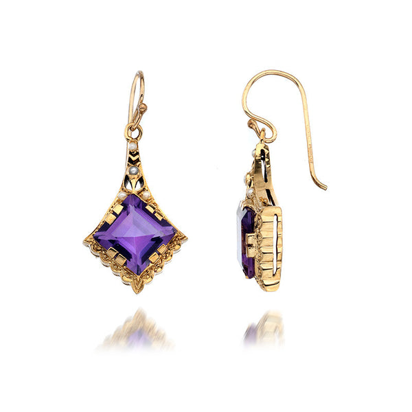 9ct Gold Earrings with Amethyst and Pearl