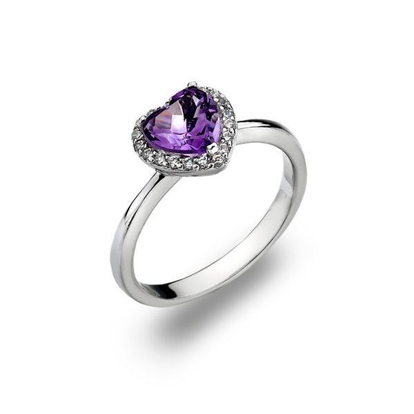 Amethyst Heart and CZ Sterling Silver Ring