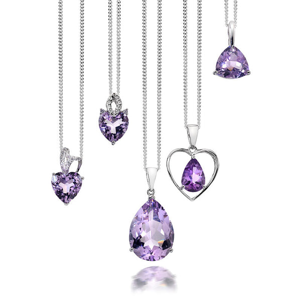 Amethyst Heart and CZ Sterling Silver Pendant