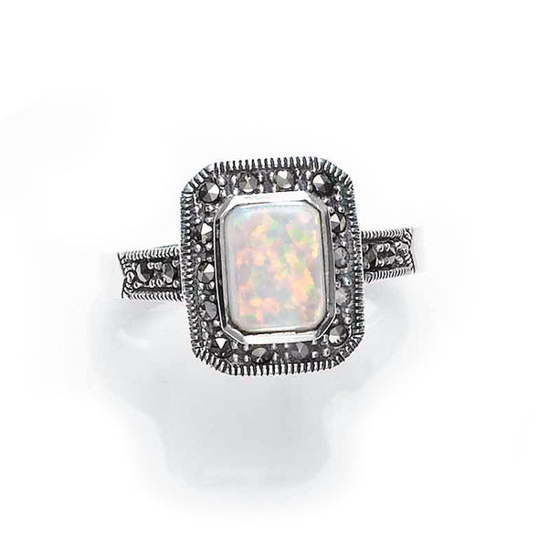 Art Deco Rectangular Opal Marcasite Sterling Silver Ring