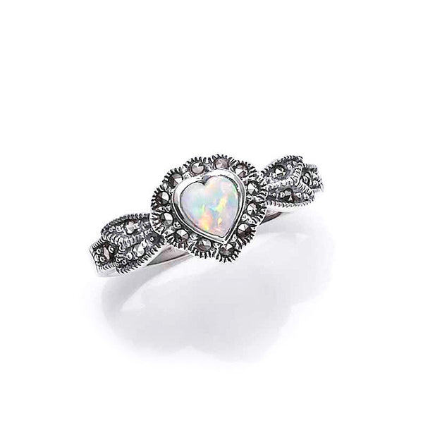 Art Nouveau Opal Heart Marcasite Sterling Silver Ring