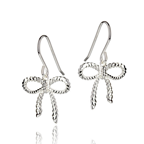 Beau Nouveau Rope Bow Talisman Sterling Silver Drop Earrings