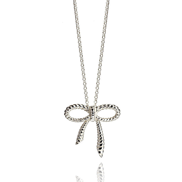 Beau Nouveau Rope Bow Talisman Sterling Silver Charm Necklace