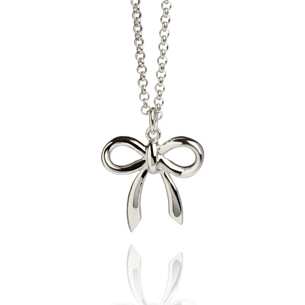 Beau Nouveau Small Bow Talisman Sterling Silver Charm Necklace