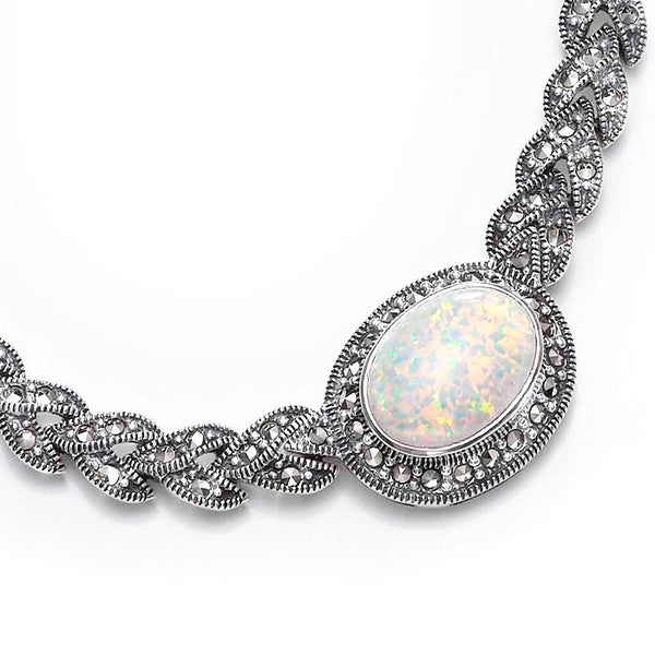 Braid Oval Opal Marcasite Sterling Silver Necklace