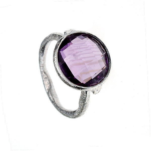 Briollette Amethyst Hammered Sterling Silver Stacking Ring