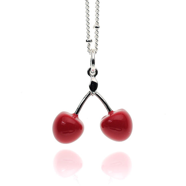 Cherry Red Enameled Sterling Silver Necklace
