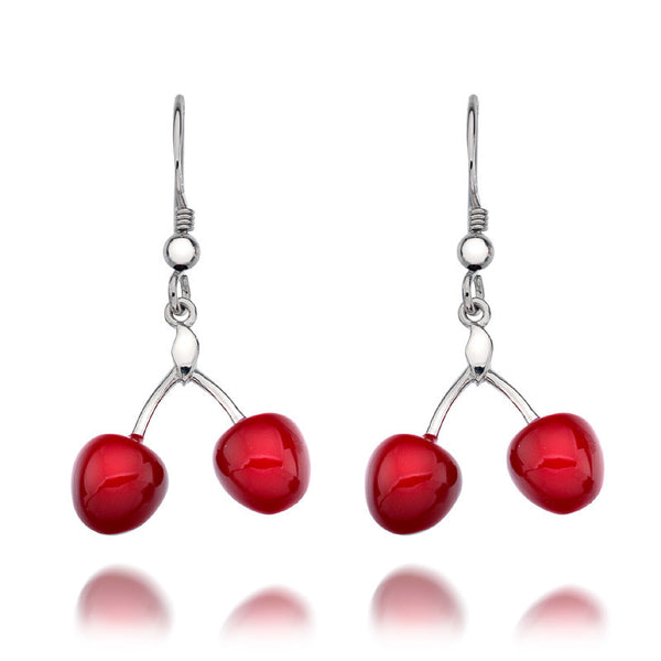 Cherry Red Enamel Sterling Silver Drop Earrings