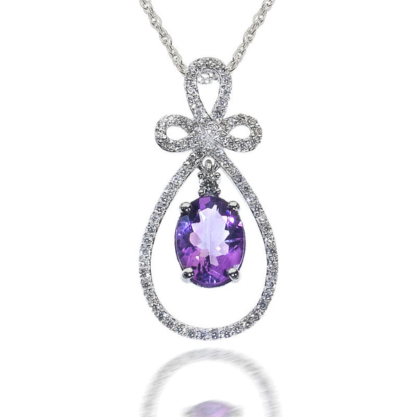 Happiness Knot Amethyst and CZ Sterling Silver Pendant