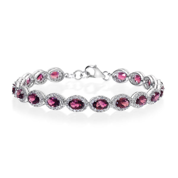 Classic Oval Pink Tourmaline and CZ Sterling Silver Bracelet
