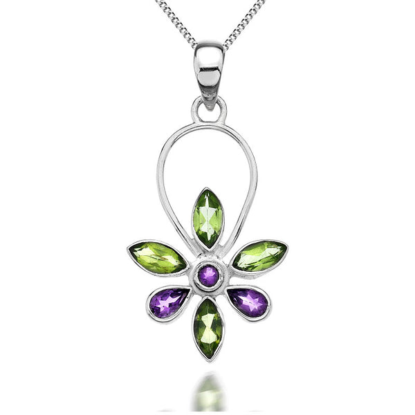 Daisy Amethyst and Peridot Sterling Silver Pendant