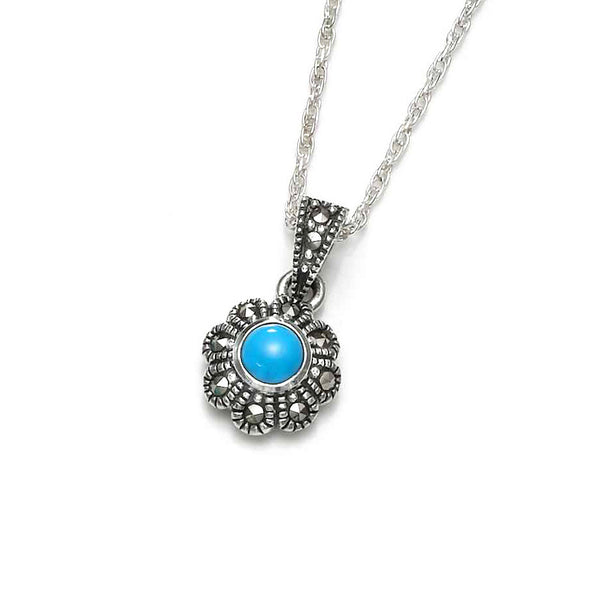 Turquoise Daisy Marcasite Sterling Silver Pendant