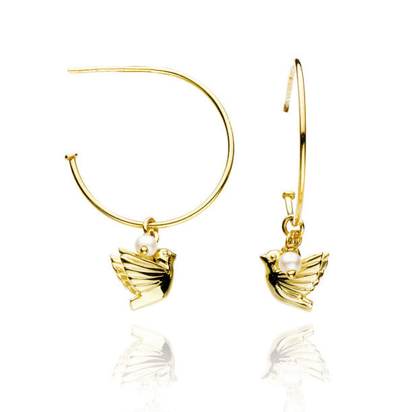 Dove and Pearl Talisman Gold Vermeil Hoop Earrings