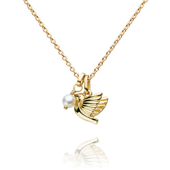 Dove and Pearl Talisman Gold Vermeil Necklace