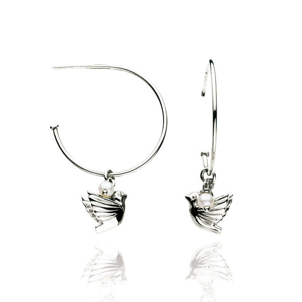 Dove and Pearl Talisman Sterling Silver Hoop Earrings
