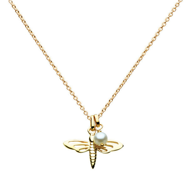 Dragonfly and Pearl Talisman Gold Vermeil Necklace