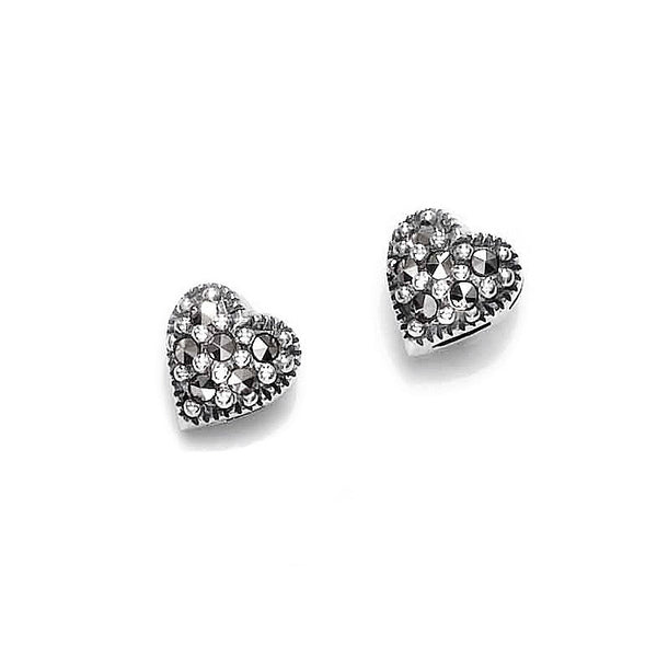 Marcasite Heart Sterling Silver Stud Earrings