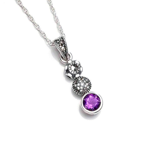 Classic Round Amethyst Marcasite Sterling Silver Pendant