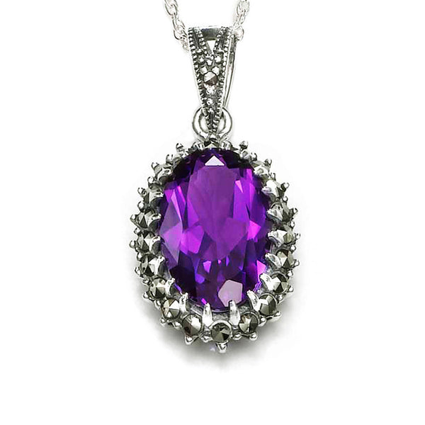 Marcasite Noble Large Oval Amethyst Sterling Silver Pendant