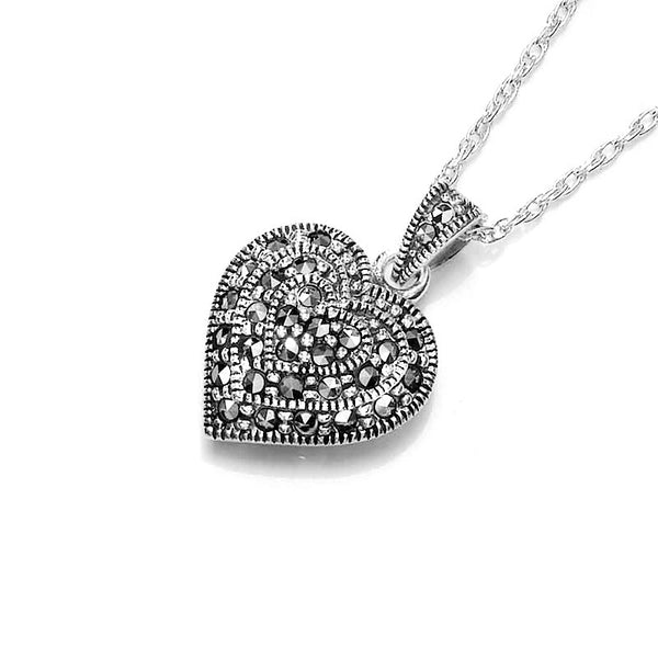 Love Heart Marcasite Sterling Silver Pendant