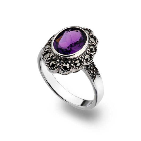 Oval Floral Marcasite Amethyst Sterling Silver Ring
