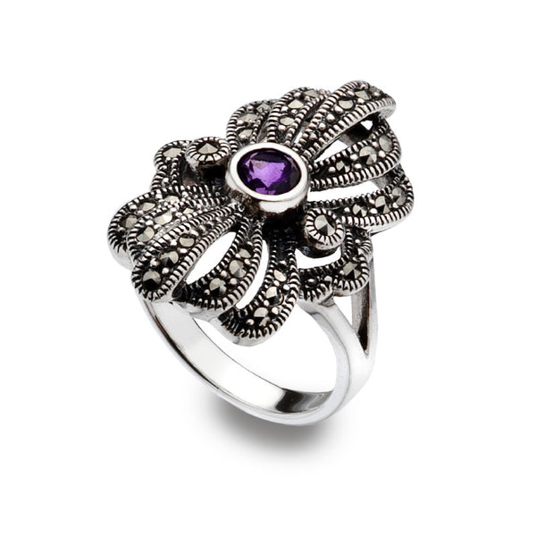 Crown Jewels Marcasite Amethyst Sterling Silver Ring