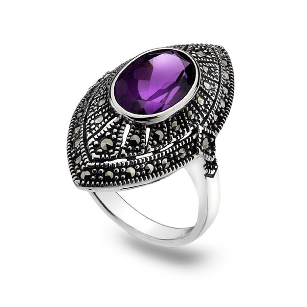 Marquise Marcasite Amethyst Sterling Silver Ring