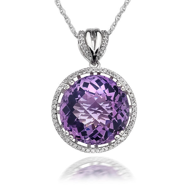 Eternity Amethyst and CZ Sterling Silver Pendant