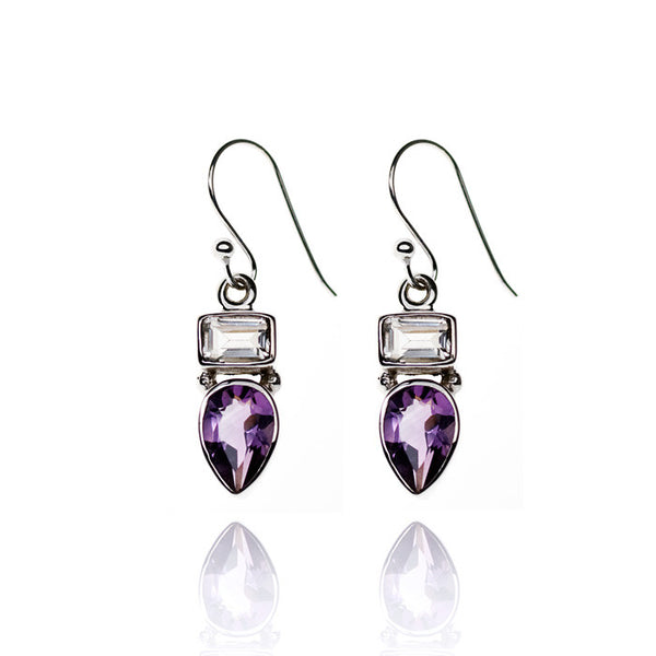 Amethyst and Rock Crystal Sterling Silver Earrings