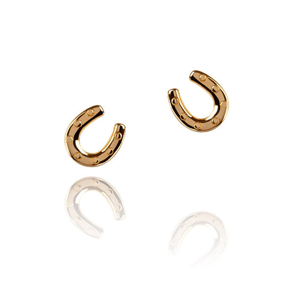 Horseshoe Talisman Gold Vermeil Stud Earrings