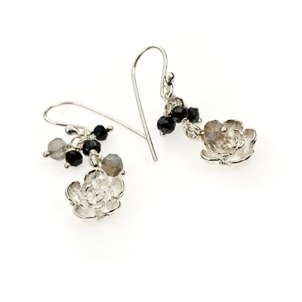 Plum Flower Black Spinel and Labradorite Sterling Silver Earrings