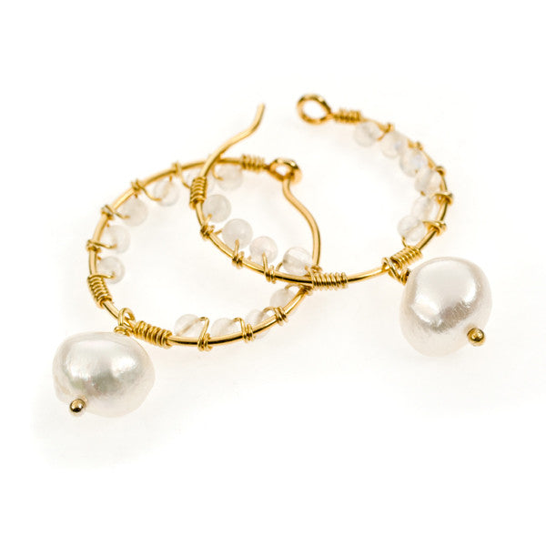 Pomegranate Pearl and Moonstone Gold Vermeil Hoop Earrings