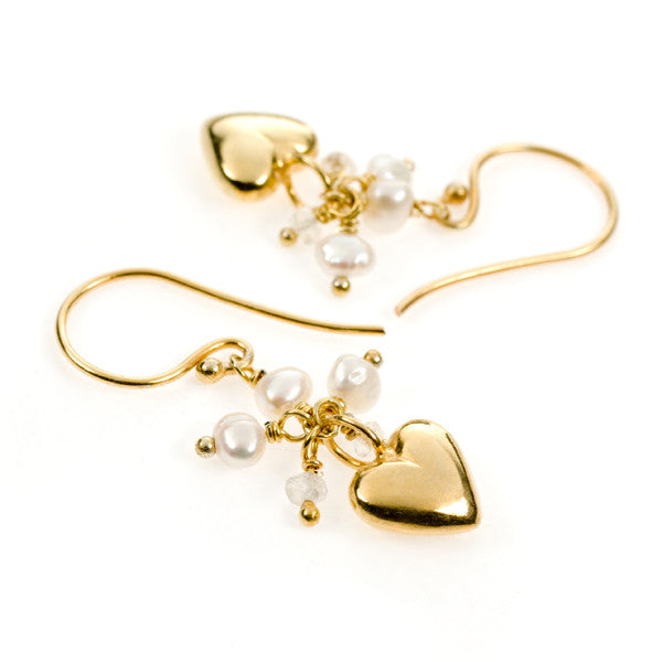 Sweet Heart Pearl and Moonstone Gold Vermeil Earrings