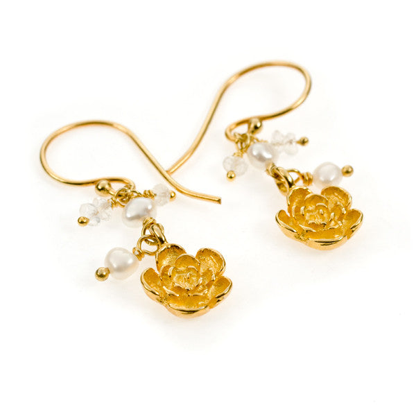 Plum Flower Pearl and Rainbow Moonstone Gold Vermeil Earrings