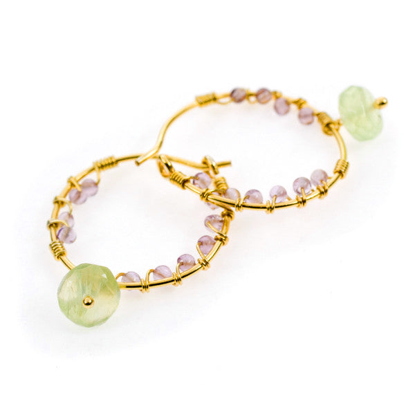 Pomegranate Amethyst and Prehnite Gold Vermeil Hoop Earrings