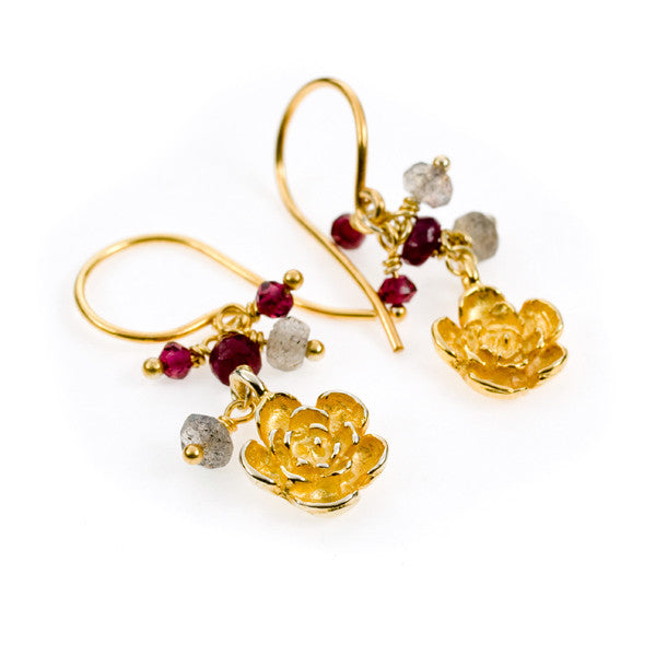 Plum Flower Garnet and Labradorite Gold Vermeil Earrings